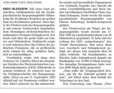 Kopie eines Zeitungsausschnittes der Hildesheimer Allgemeinen Zeitung über das 30-jährige Jubiläum des Sozialpsychiatrsichen Fördervereins Hildesheim - Begegnungsstätte (2015). Teil 1.