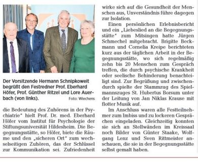 Kopie eines Zeitungsausschnittes der Hildesheimer Allgemeinen Zeitung über das 30-jährige Jubiläum des Sozialpsychiatrsichen Fördervereins Hildesheim - Begegnungsstätte (2015). Teil 2.