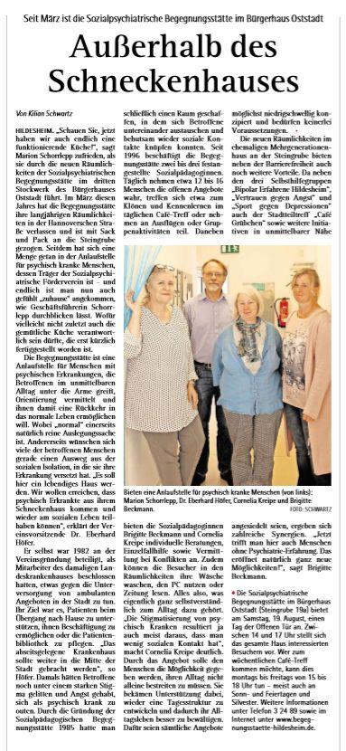 Foto eines Zeitungsausschnittes aus dem Kehrwieder am Sonntag über den Umzug des Sozialpsychiatrischen Fördervereins Hildseheim - Begegnungsstätte in die Steingrube 19 A in Hildeheim im März 2017.